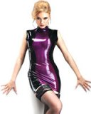 Sleeveless Black and Purple Transparent Latex Mini Dress