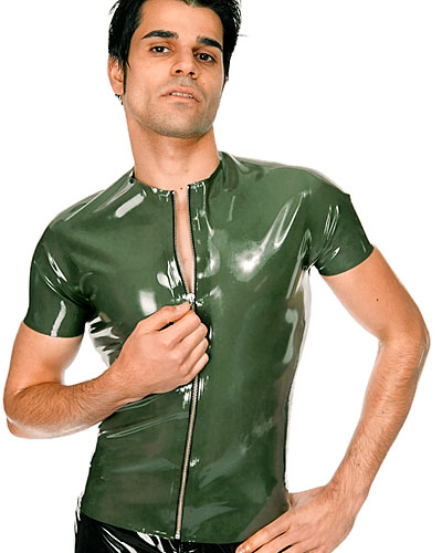 Rubber T-Shirt with Front Zipper - Up to Size 3XL