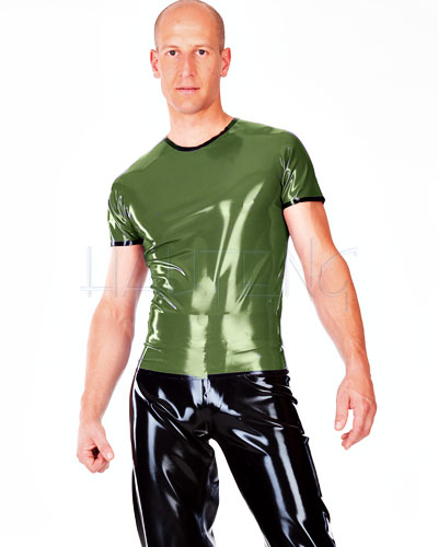 Glued Latex T-Shirt with Contrast Colour Trim