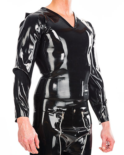 Hooded Latex Shirt with Long Sleeves - Up to Size 3XL