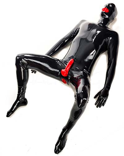 Latex Total Fetish Suit with Sheath, Openings and Mask
