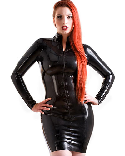 Glued Black Latex Short Mistress Dress