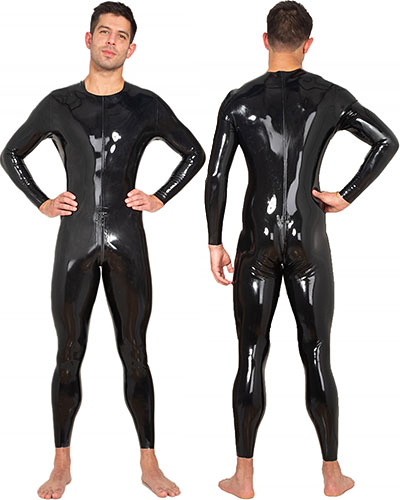 Glued Black Latex Catsuit with 2-Way Zipper Through Crotch