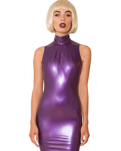 Glued Purple-Metallic Rubber Mermaid Hobble Dress