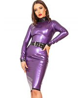 Incognito Bleistiftkleid aus geklebtem lila-metallic Latex