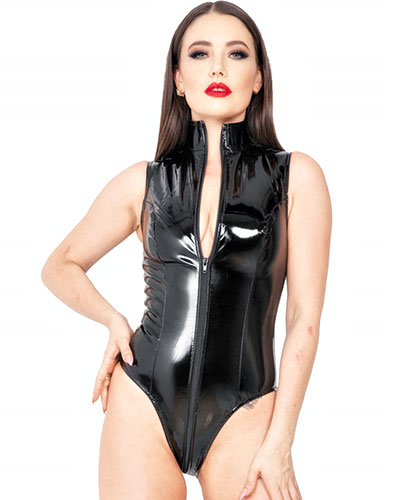 Black Gloss PVC Body with 3 Way Zipper - up to 6XL