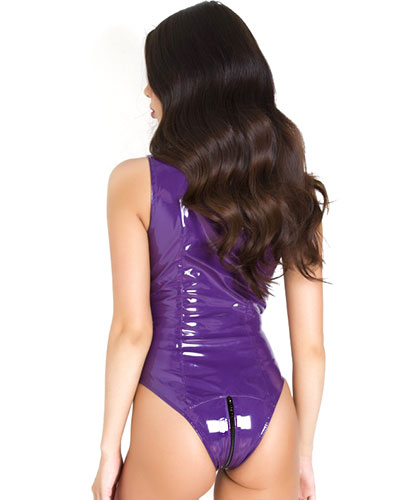 Purple Gloss PVC Body with 3 Way Zipper through the Crotch