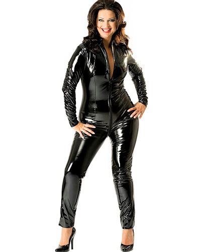 Black Gloss PVC Catsuit with 2-Way Zipper - up to Size 6XL
