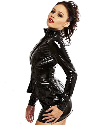 Black Gloss PVC Paris Peplum Jacket