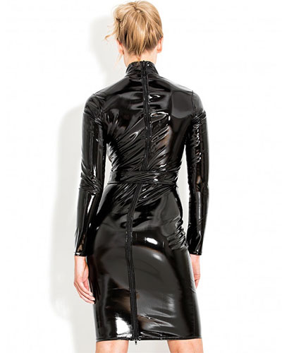 Black Gloss PVC Regulation Dress - up to Size 6XL