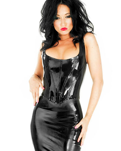 Glued Black Latex Boned Corset Top