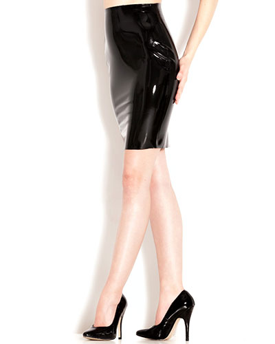 Glued Black Rubber Pencil Skirt - up to Size 4XL