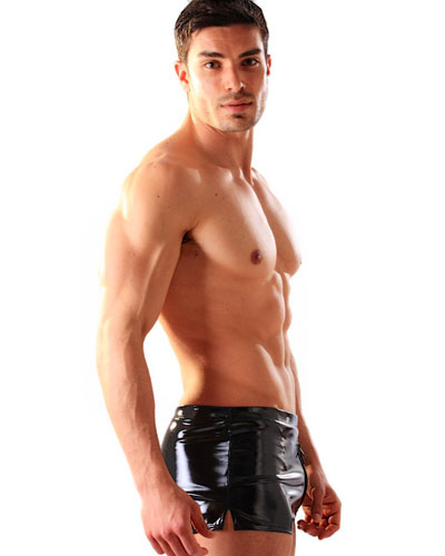 Black Gloss PVC Boxer Shorts With Thru Zip