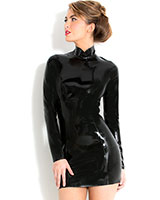 Glued Black Latex Midnight Dress - up to 3XL