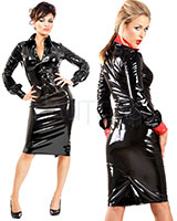 Black Gloss PVC Monroe Pencil Skirt