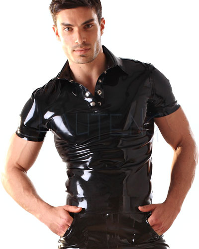 Glued Black Latex Rubber Polo Shirt