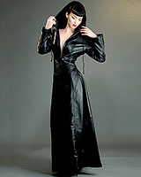 Black Leather Hooded Gothica Dress