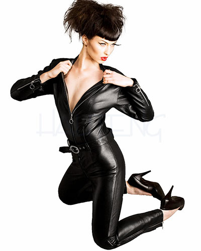 Black Leather Belted Biker Bitch Catsuit