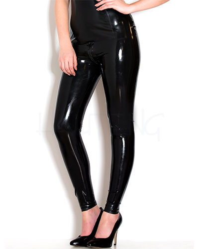 Glued Black Latex Skinny Jeans with 3 Way Zipper