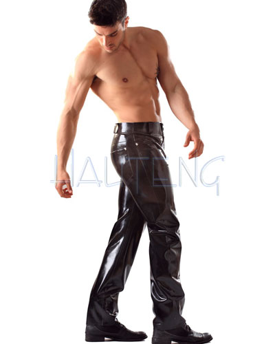 Glued Black Rubber Jeans
