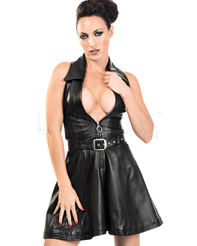 Beauty Dress aus schwarzem Leder