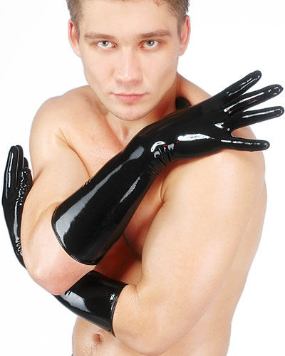Anatomical Moulded Elbow Length Fetisso Latex Gloves