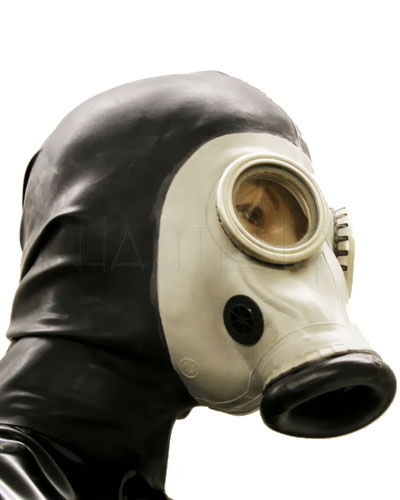 Gasmask with Internal Condom and Back Zipper