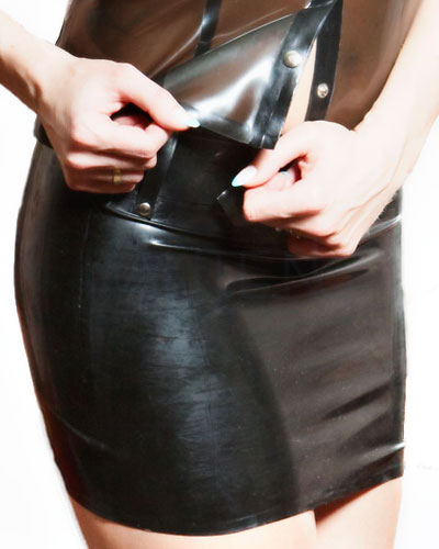 Glued Latex Mini Skirt with Belt