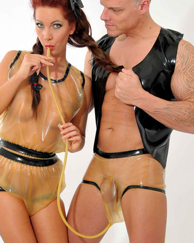 Latex Piss Pants with Penis Bag and Tube