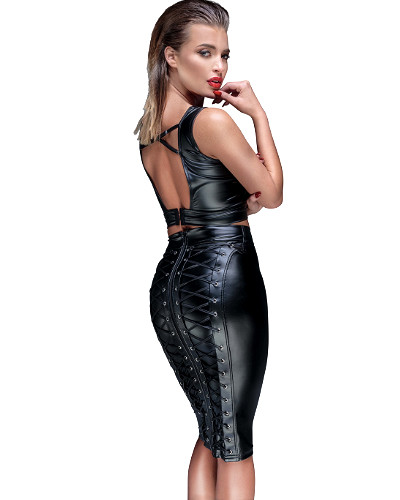 Powerwetlook Pencil Skirt with Back Lacing