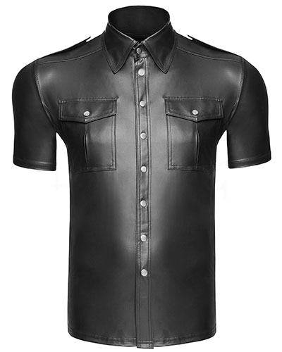 Gent\'s Wet Look Short Sleeved Shirt - up to Size 6XL