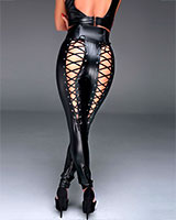 Long Powerwetlook Pants with Back Lacing