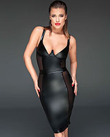 Powerwetlook Pencil Dress with Mesh Panels