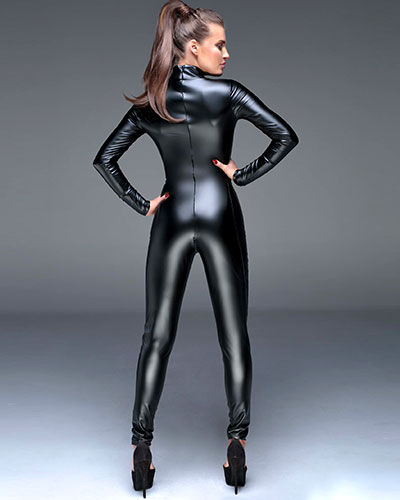 Powerwetlook Catsuit with Gloss PVC Half Cups