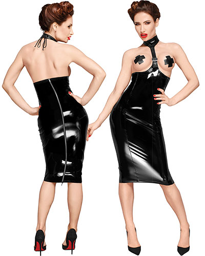 Black Gloss PVC Topless Pencil Dress - up to 3XL