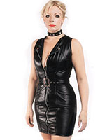 Zipped Black Gloss PVC Dress