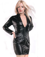 Long Sleeved Black Leather Dress with Zipper