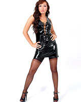 Black Gloss PVC Tie Up Mini Dress