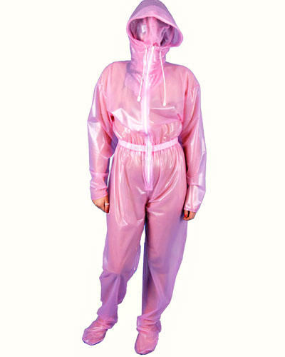 Ladies\' PVC Jumpsuit with Enclosed Hood
