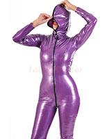 Hooded PVC Catsuit with 2 Way Zipper