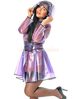 Short PVC Raincoat with Wide Belt