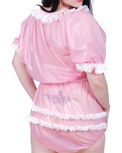 Adult Baby PVC Romper Suit with Frills