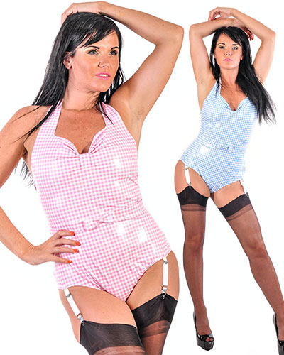 PVC Glamour Swimsuit with Suspenders
