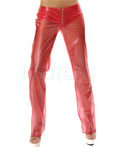 Low-Rise PVC Pants with Zipper for Ladies and Gents