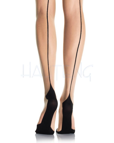 Sheer Cuban Heel Stockings with Backseam