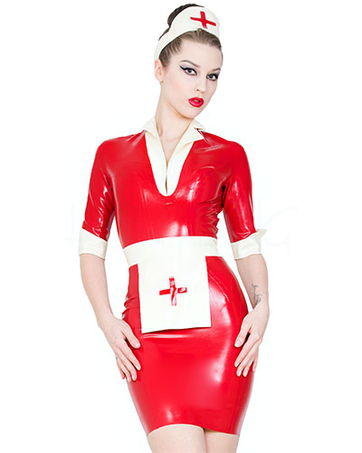 Lucy Nurse Dress - Schwesternuniform aus geklebtem Latex