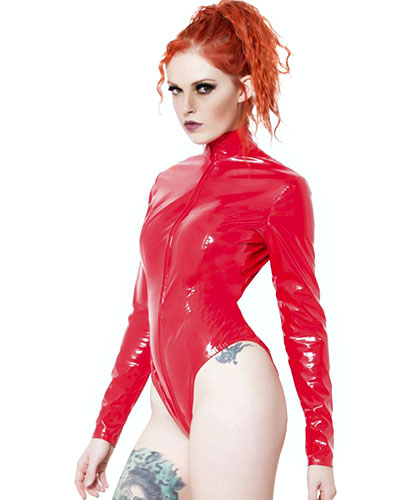 Red Gloss PVC Severity Body with 2-Way Thru Zipper - up to 6XL