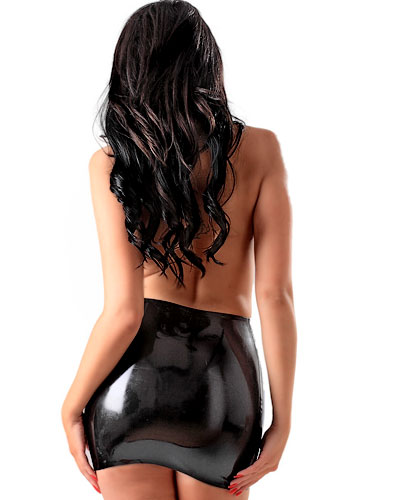 Glued Black Rubber Mini Skirt - up to 4XL