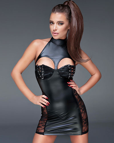 Powerwetlook Mini Dress with Half Cups with Lace Overlay - 3XL