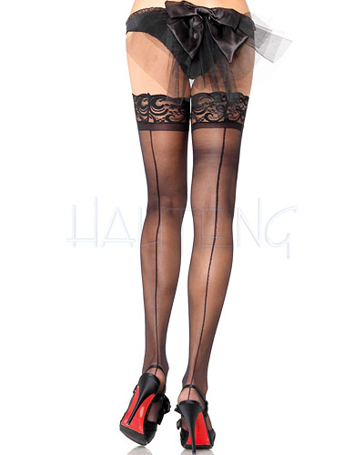 Hold Up Lace Top Sheer Stockings with Backseam